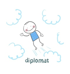 Diplomat flies through the sky vector