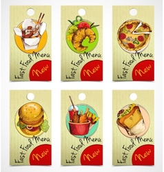 Fast food tags vector image vector image