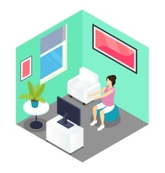 Fitness And Pregnancy Isometric Design vector image vector image