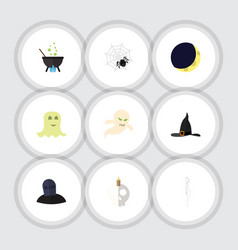Flat icon celebrate set of witch cap skeleton vector