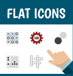 Flat icon play set of gomoku chequer guess and vector