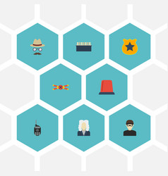 Flat icons thief lawyer jury and other vector