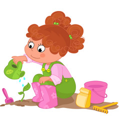 Girl doing gardening vector