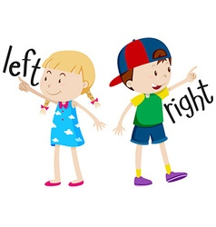 Girl on the left and boy on the right vector image vector image
