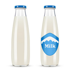 glass bottle of milk isolated on white background vector image