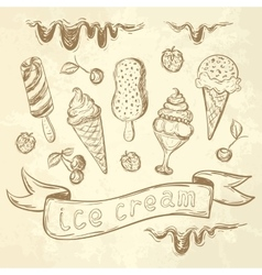 Hand drawing set of ice cream vector image