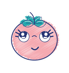 Kawaii nice thinking tomato vegetable vector