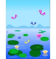 lake with lilies and dragonflies vector image vector image