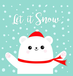 Let it snow polar white bear cub wearing red vector