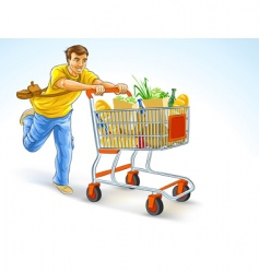Man with shopping cart vector
