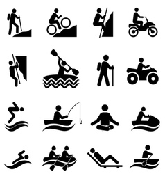Outdoor Leisure Activies and Recreation Icons vector image vector image