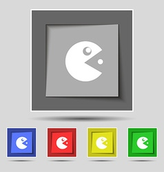 Pac man icon sign on original five colored buttons vector
