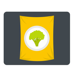 Packet of frozen broccoli icon isolated vector
