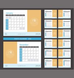 photo calendar 2019 ready to print vector image