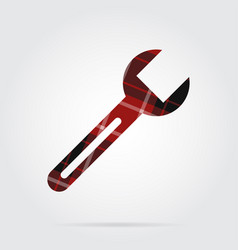 Red black tartan isolated icon - spanner vector
