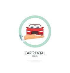 Rent a car agency logo rental automobile vector image vector image