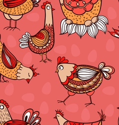 Seamless pattern with hand-drawn chickens and eggs vector