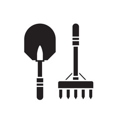 Shovel and rake outline icon vector