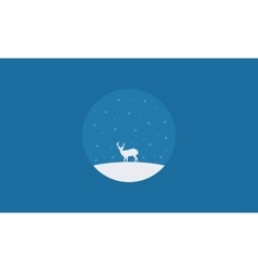 Silhouette of one deer christmas scenery vector