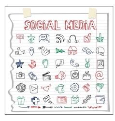 Social media icon and worddoodle sketchy vector