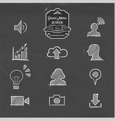 Social media icon set in hand drawn sketch style vector