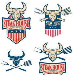 Steak house labels set vector