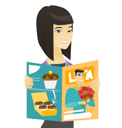Successful asian business woman reading magazine vector