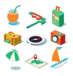 Travel objects icon set flat 3d isomectric modern vector