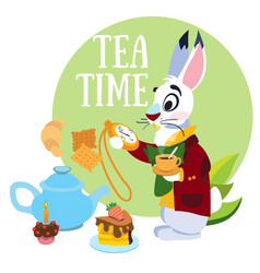 white rabbit hurrying to the mad tea party to the vector image vector image