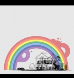 wireframe of cottage with rainbow vector image