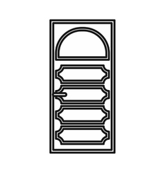 Wooden door with an arched glass icon vector