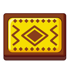 Yellow and brown turkish carpet icon cartoon style vector