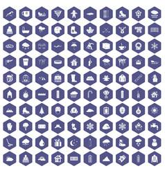 100 snow icons hexagon purple vector