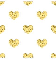 Golden glitter hearts sparkles seamless pattern vector