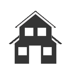 Silhouette with monochrome house of two floors vector