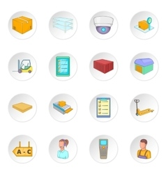 Warehouse store icons set vector