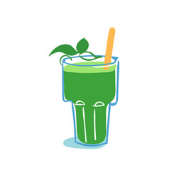 Glass of fresh healthy spinach smoothie vector