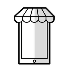 Smartphone with parasol icon vector