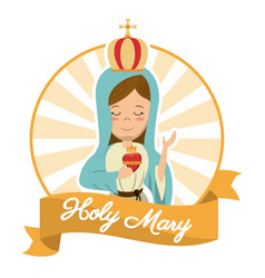 Holy mary sacred heart belief spirit image vector