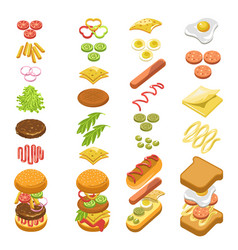 Preparing fast food step by step template colorful vector