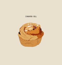 Traditional homemade cinnamon rolls sketch vector