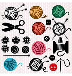 Yarn balls and sewing equipment vector