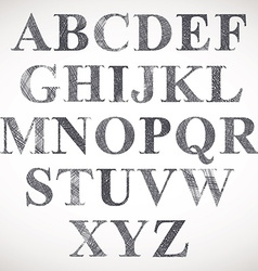 Hand drawn and sketched classic font vector