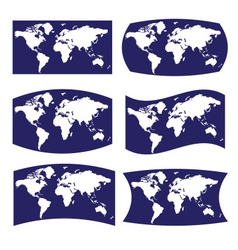blue and white various view on map of world eps10 vector image