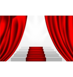 Silk curtain and the stairs to the podium vector