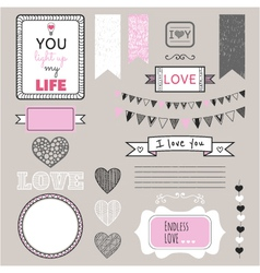 Romantic graphic set borders hearts frames vector image