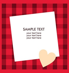 White paper sheet with text on the red checkered vector
