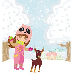 Winter girl and her dog vector