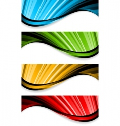Collection of bright wavy banners vector