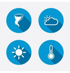 Weather icons cloud and sun storm symbol vector